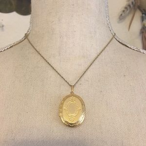 Vintage gold locket on Trifari chain necklace
